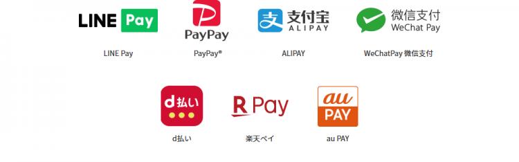 Payが使えるバーコード決済会社ですが、日本で主流のPayPayやLINE Payをはじめ、最近人気のauPay/メルペイなども利用可能となっておりました。